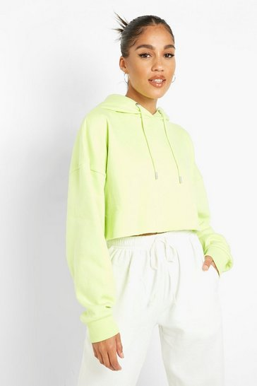 Lime green Recycled Cropped Hoodie