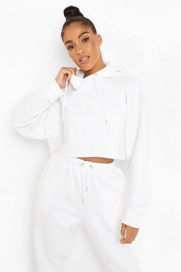 White Recycled Cropped Hoodie