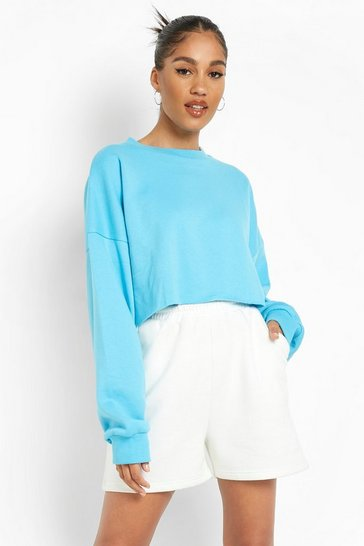 Blue Recycled Cropped Sweater