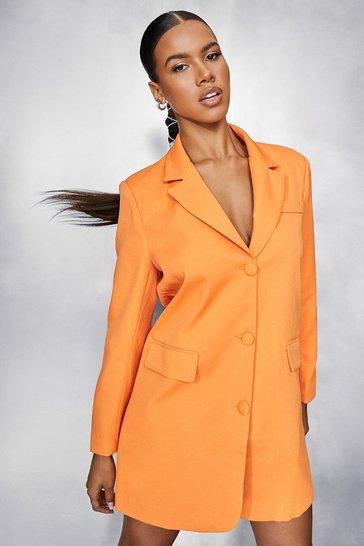 Orange Oversized Blazer Dress