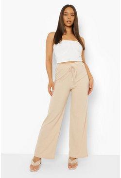 LX/_ Women Solid Color High Waist Bandage Wide Leg Pants Fashion Trousers Splen