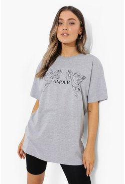 Grey marl grey Amour Oversized  T Shirt