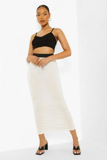 Ivory white Contrast Waist Jersey Maxi Skirt