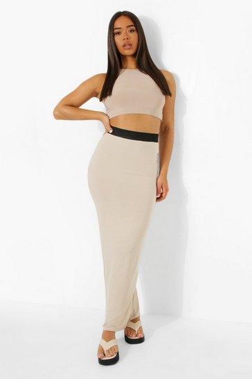 Stone beige Contrast Waist Jersey Maxi Skirt