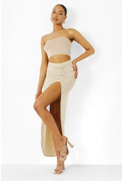 Stone beige Ruched Side Jersey Maxi Skirt
