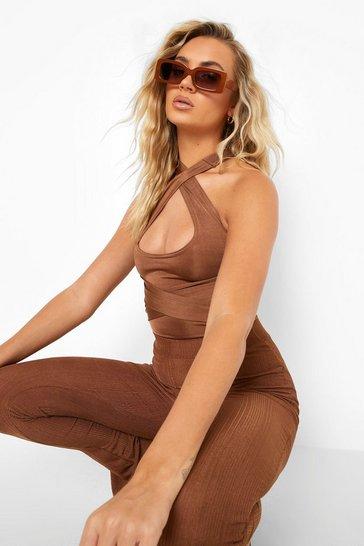 Chocolate brown Brown Recycled Multi Way Slinky Bodysuit