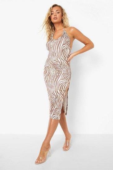 Brown Recycled Animal Print Scoop Back Midi Dress