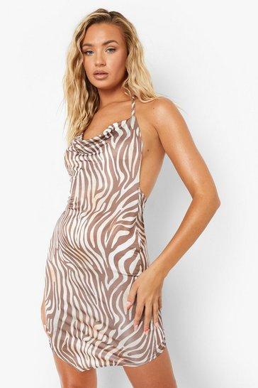Brown Recycled Animal Print Strap Detail Dress