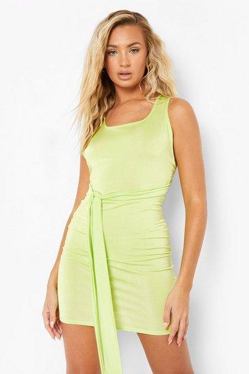 Green Recycled Multi Way Slinky Dress