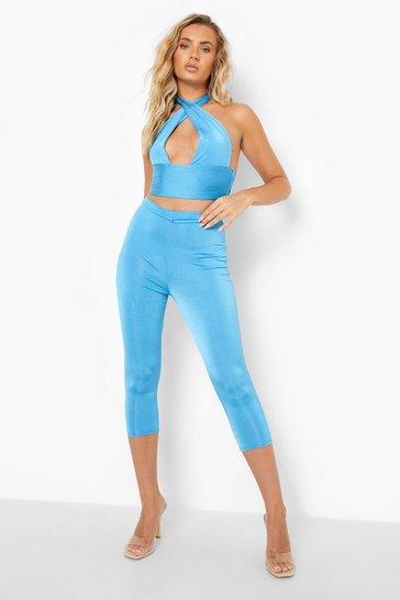 Blue Recycled Slinky Waist Detail Co Ord Leggings