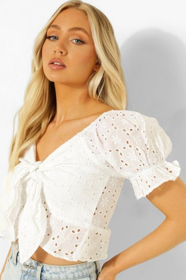 White Tie Detail Broderie  Top
