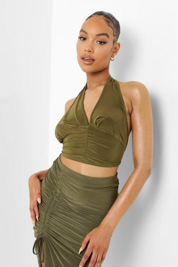 Olive green Green Double Layer Slinky Tie Back Halterneck Top