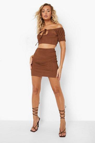 Chocolate brown Brown Recycled Slinky Rib Split Hem Co Ord Skirt