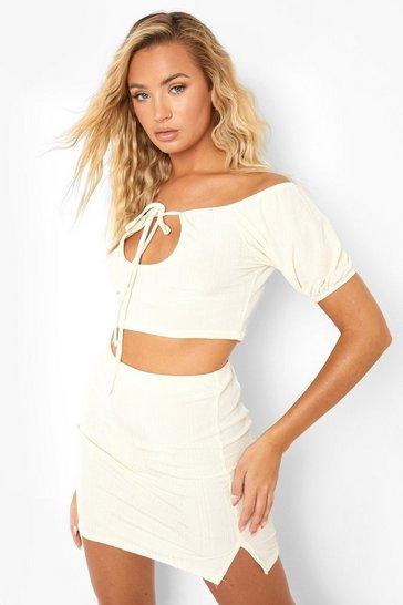 Ecru white White Recycled Slinky Rib Split Hem Co Ord Skirt