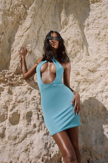Blue Recycled Cut Out Halter Slinky Dress