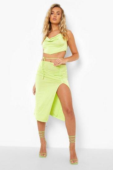 Green Recycled Tie Detail Slinky Midi Skirt
