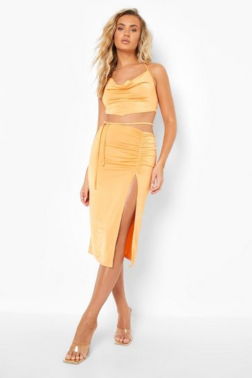 Orange Recycled Tie Detail Slinky Midi Skirt