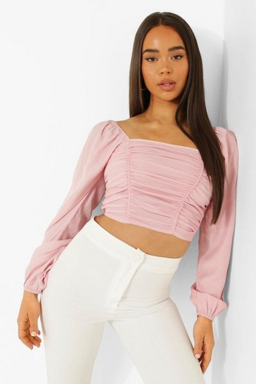 Rose pink pink Pink Volume Sleeve Ruched Front Top