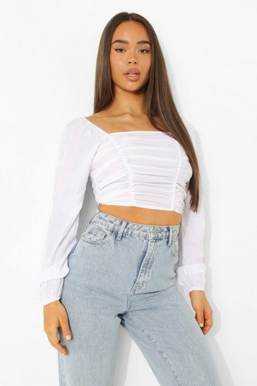White Volume Sleeve Ruched Front Top