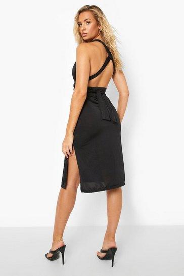 Black Recycled Multi Way Slinky Midi Dress