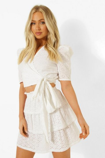 White Broderie Puff Sleeve Wrap Top