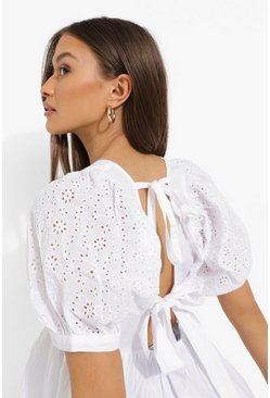White Tie Back Broderie Smock Top