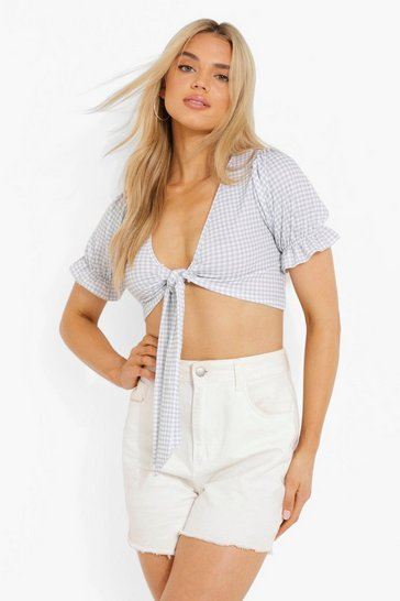 Sage green Green Gingham Tie Front Puff Sleeve Top