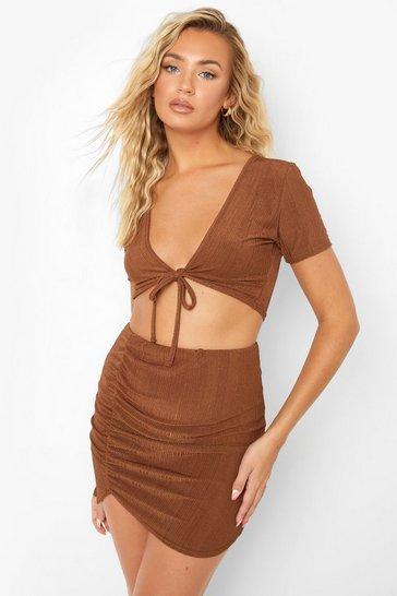 Chocolate brown Brown Recycled Slinky Rib Twist Co Ord Skirt