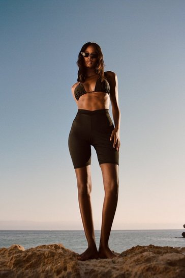 Black Recycled Slinky Dip Hem Co Ord Shorts