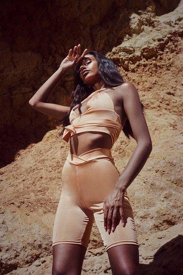 Orange Recycled Slinky Dip Hem Co Ord Shorts