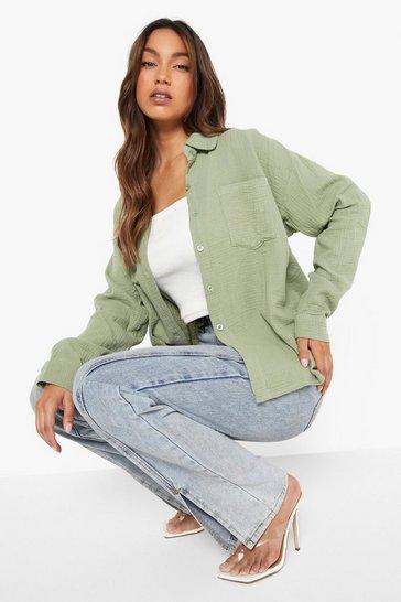 Sage green Green Textured Oversized Shirt