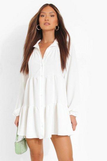 Ivory white Tiered Smock Shirt Dress