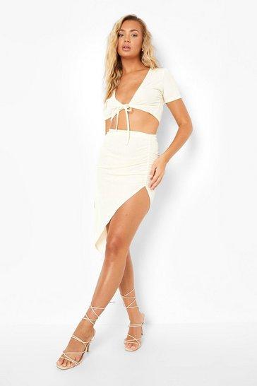 Ecru white White Recycled Slinky Rib Asymmetric Co Ord Skirt