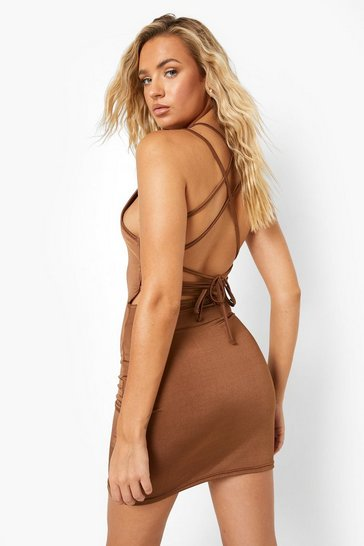 Chocolate brown Brown Recycled Slinky Racer Open Back Mini Dress
