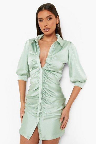 Mint green Textured Woven Ruched Front Shirt Dress