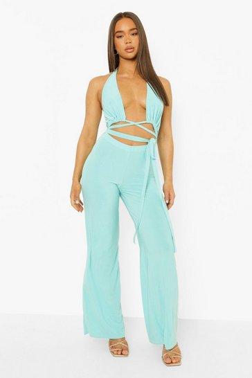 Turquoise blue Slinky Cut Out Wide Leg Jumpsuit