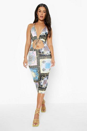 Black Pastel Scarf Print Slinky Tie Midi Dress