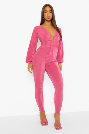 Pink Textured Slinky Twist Detail Jumpsuit
