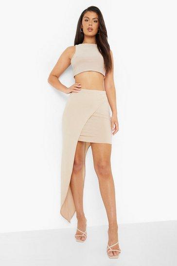 Stone beige Wrap Jersey Maxi Skirt