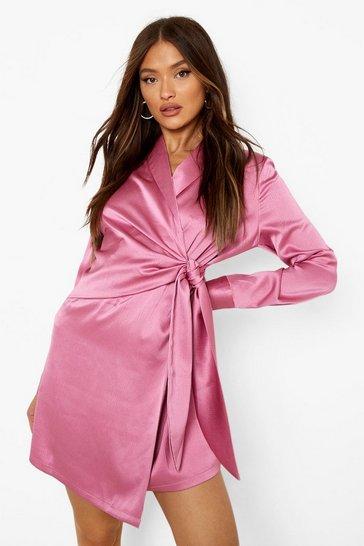Magenta pink Textured Drape Front Shirt Dress