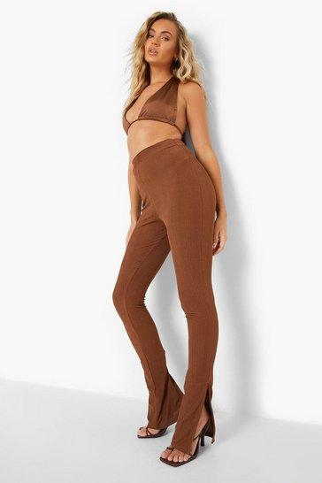 Chocolate brown Brown Recycled Slinky Rib Split Hem Legging