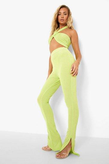 Green Recycled Slinky Rib Split Hem Legging