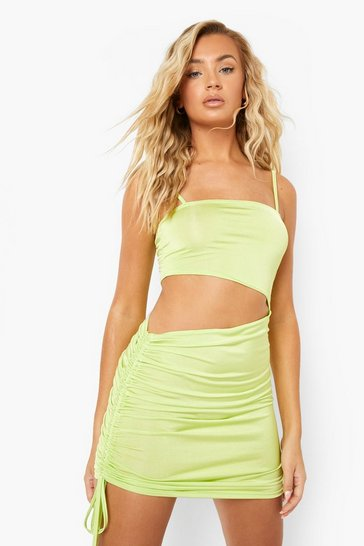 Green Recycled Slinky Cut Out Ruched Mini Dress