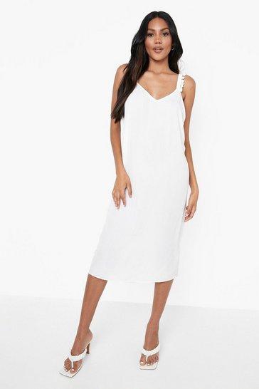 White Pom Pom Cross Back Midi Dress