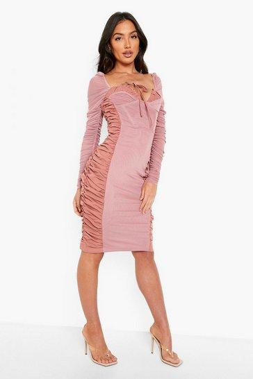 Rose pink Ruched Mesh Detail Midi Dress