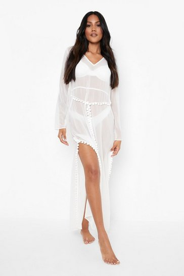 White Pom Pom Trim Belted Maxi Dress