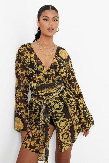 Black Scarf Print Belted Frill Mini Dress