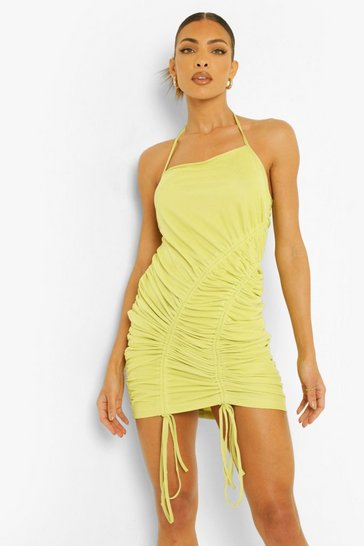 Lemon yellow Strappy Ruched Detail Mini Dress