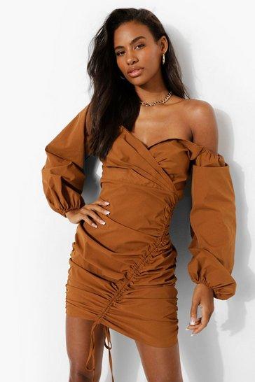 Chocolate brown Bardot Ruched Wrap Mini Dress