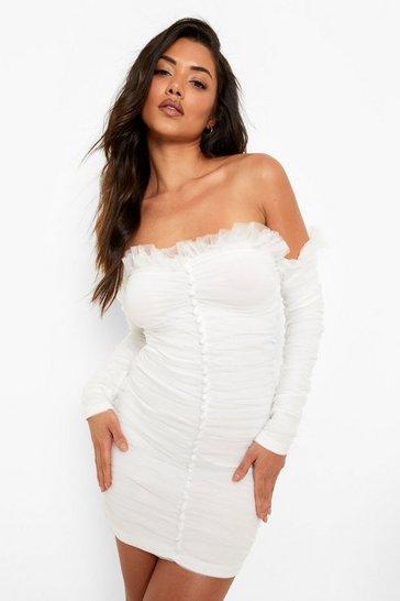 White Bardot Mesh Ruffle Mini Dress